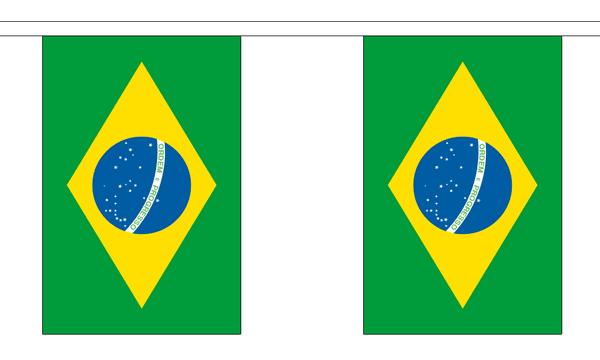 Brasilien Länderkette 3 m - 10 Flaggen á 15x22,5cm
