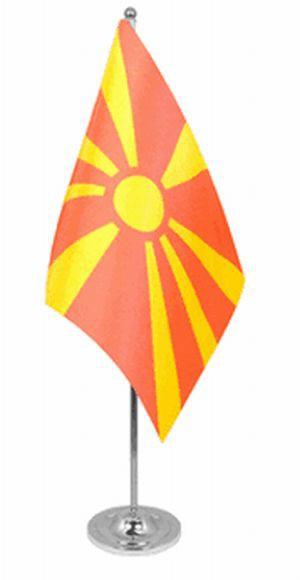 Mazedonien Tischfahne 22,5x15cm Satin