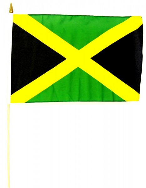 Jamaika Stockfahne 30cm x 45 cm