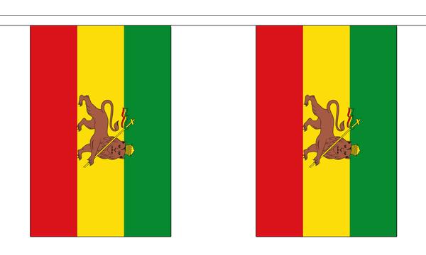 Äthiopien Löwe Länderkette 3 m - 10 Flaggen á 15x22,5cm