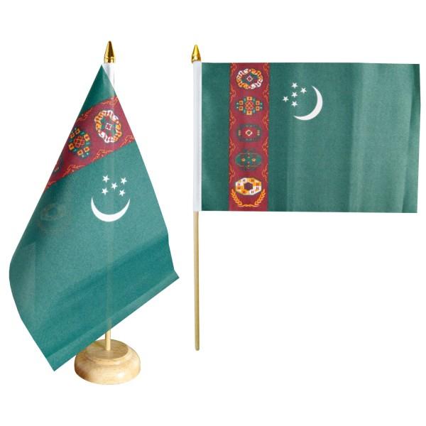 Turkmenistan Tischfahne 10x15cm