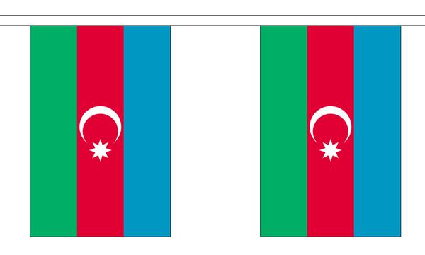 Aserbaidschan Länderkette 3 m - 10 Flaggen á 15x22,5cm