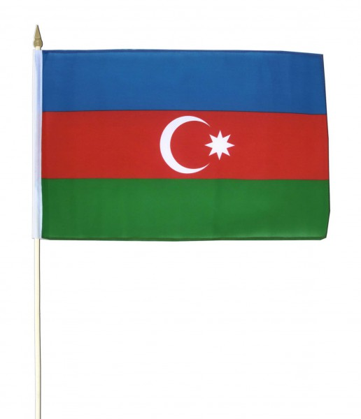 Aserbaidschan Stockfahne 30cm x 45 cm