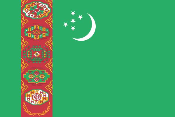 Turkmenistan Stockfahne 30cm x 45 cm