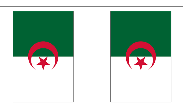 Algerien Länderkette 3 m - 10 Flaggen á 15x22,5cm