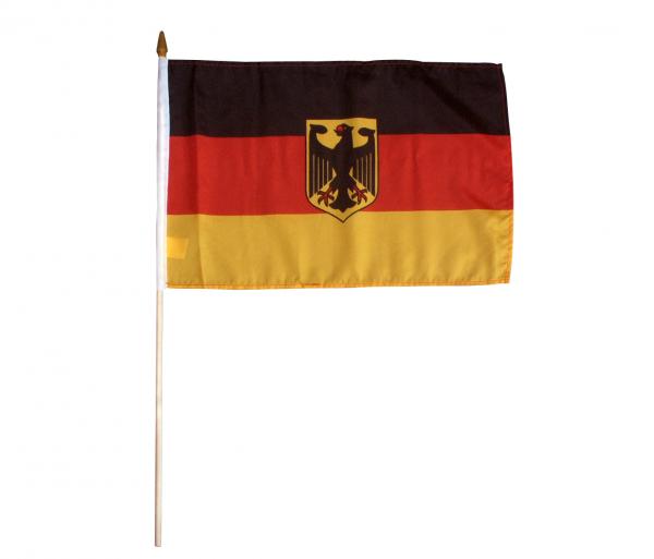 Deutschland Stockfahne mit Adler 30 x 45 cm