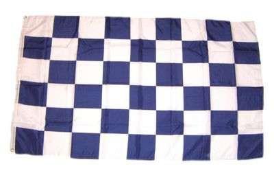Karo weiss/blau Hohlsaumflagge 60x90 cm