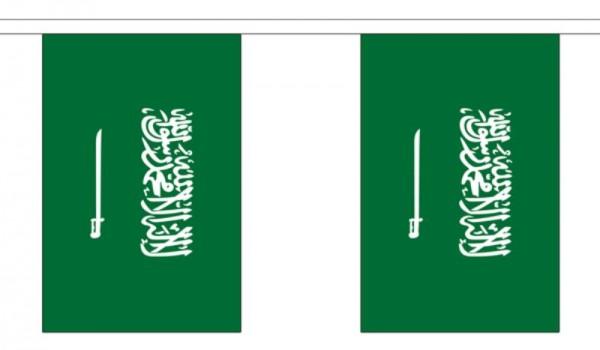 Saudi Arabien Länderkette 3 m - 10 Flaggen á 15x22,5cm
