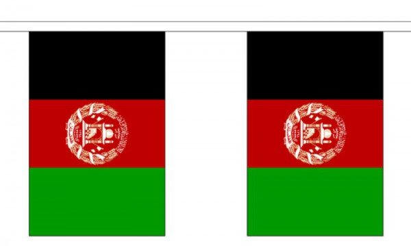 Afghanistan Länderkette 3 m - 10 Flaggen á 15x22,5cm