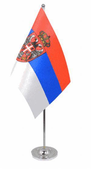 Serbien Tischfahne 22,5x15cm Satin