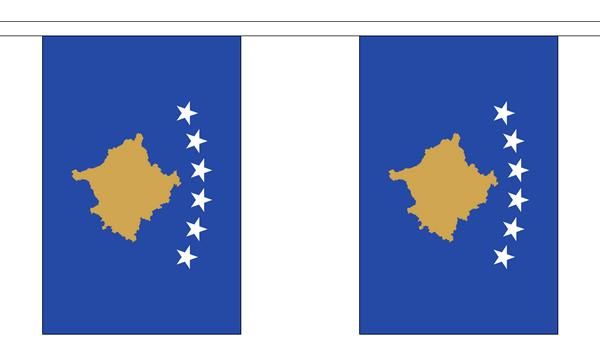 Kosovo Länderkette 3 m - 10 Flaggen á 15x22,5cm