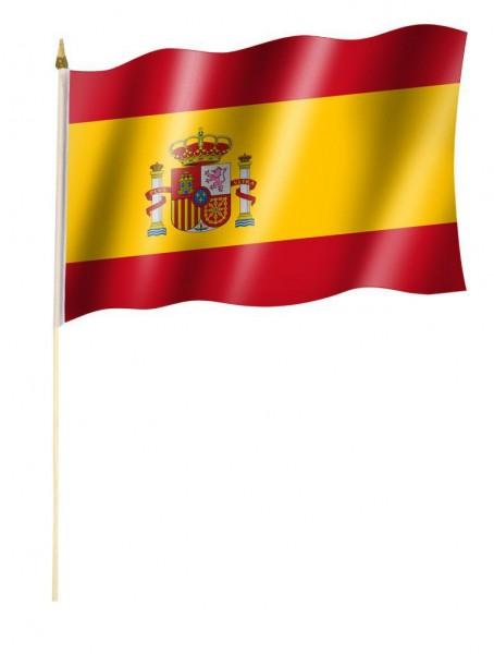 Spanien Stockfahne mit Wappen 30 x 45 cm