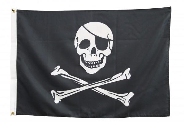 Pirantenflagge 90 x 150 cm Pirat Knochen & Augenklappe