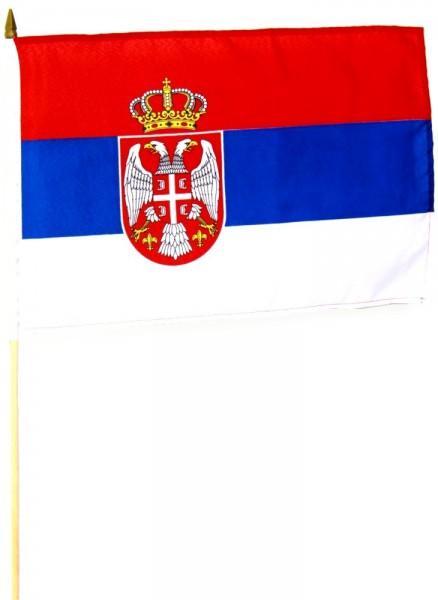 Serbien Stockfahne 30 x 45 cm