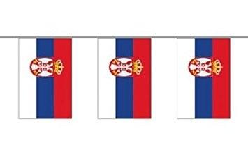 Serbien Länderkette 3 m - 10 Flaggen á 15x22,5cm