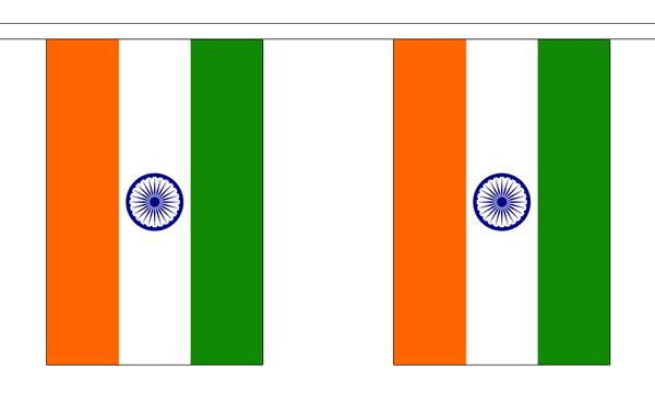 Indien Länderkette 3 m - 10 Flaggen á 15x22,5cm