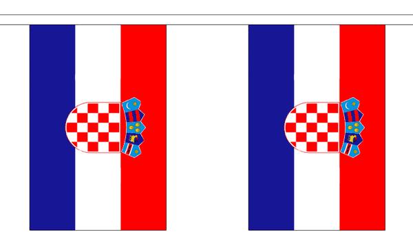 Kroatien Länderkette 3 m - 10 Flaggen á 15x22,5cm