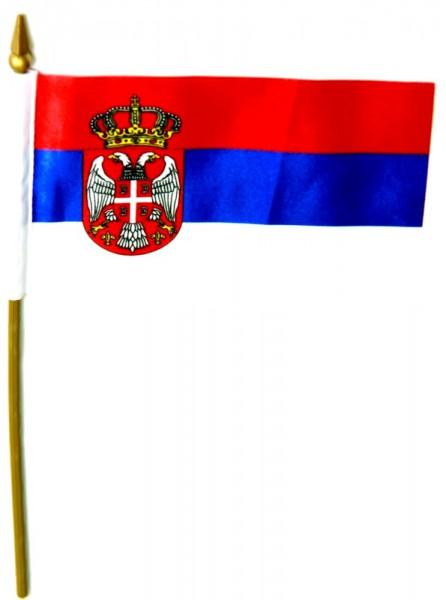 Serbien Tischfahne 10x15cm