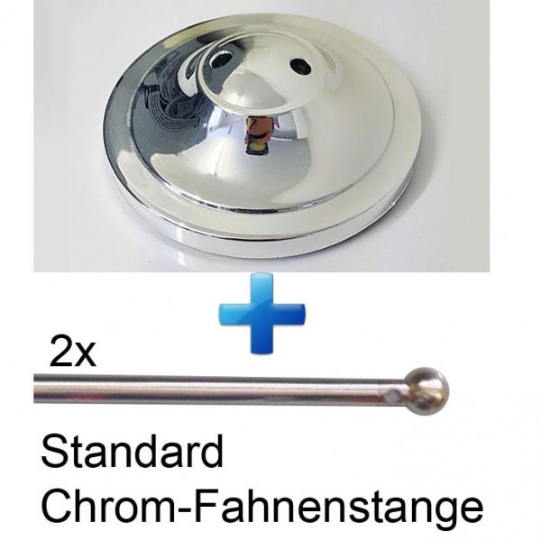 Tischsockel + Fahnenmast Chrom für 2 Tischfahne 22,5x15cm - ohne Fahne