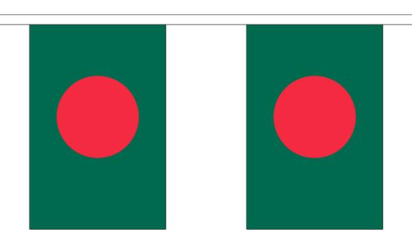 Bangladesch Länderkette 3 m - 10 Flaggen á 15x22,5cm