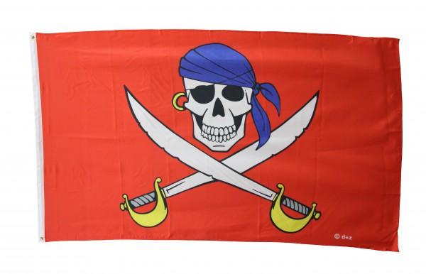 Piratenflagge 90x150cm - blaues Kopftuch auf rotem Grund
