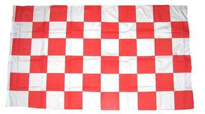 Karo weiss/rot Hohlsaumflagge 60x90 cm