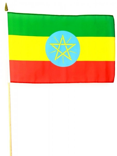 Äthiopien Stockfahne 30 x 45 cm