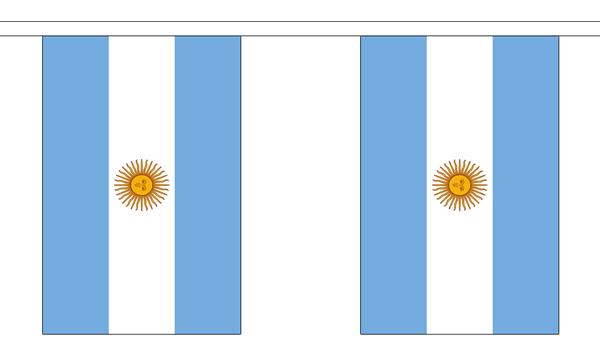 Argentinien Länderkette 3 m - 10 Flaggen á 15x22,5cm