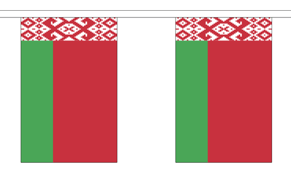 Weissrussland Länderkette 3 m - 10 Flaggen á 15x22,5cm - Belarus