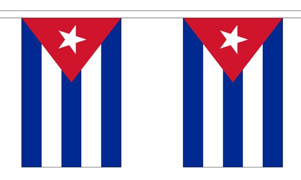 Kuba Länderkette 3 m - 10 Flaggen á 15x22,5cm