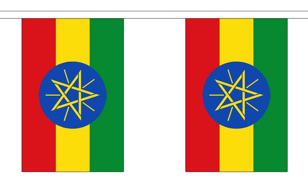 Äthiopien Stern Länderkette 3 m - 10 Flaggen á 15x22,5cm