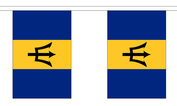Barbados Länderkette 3 m - 10 Flaggen á 15x22,5cm